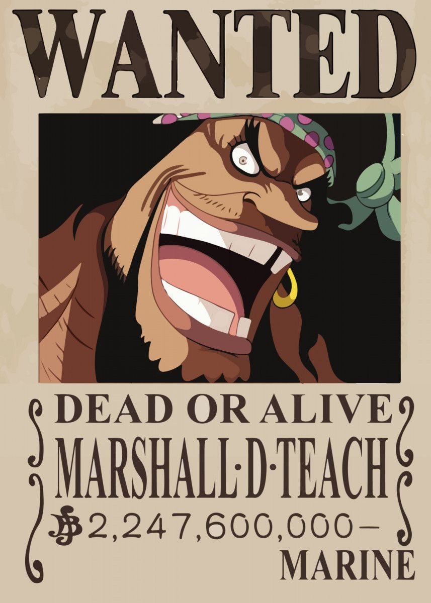 'one piece wanted marshall' Poster Print by WallArt | Displate