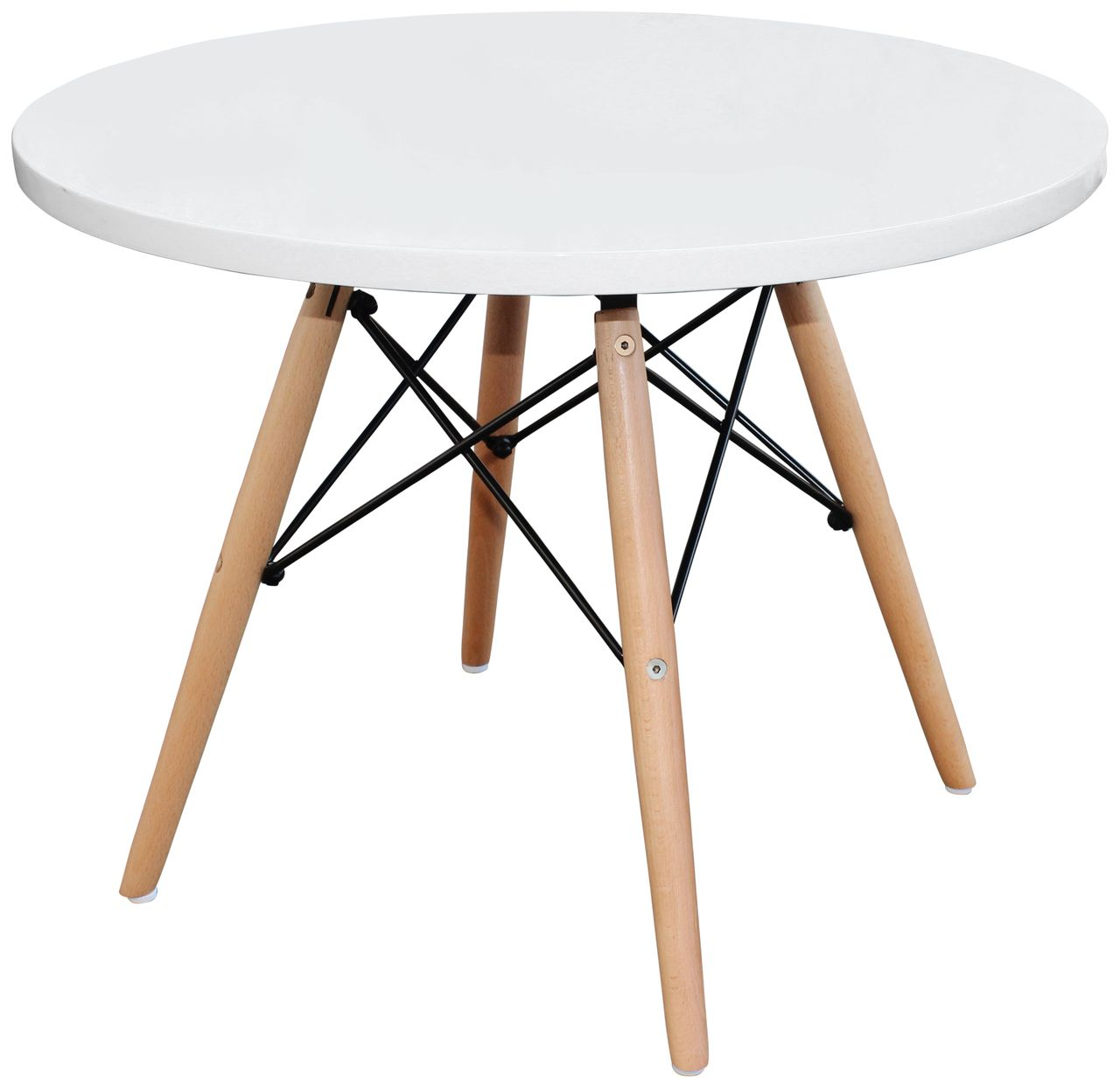 Interior Classics   Eames Eiffel Replica Round Side/Kids Table White With  Beech Wood Legs