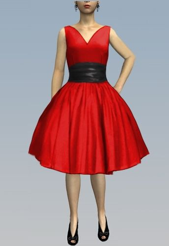 1950s High Ruched Waist Dress by Amber Middaugh