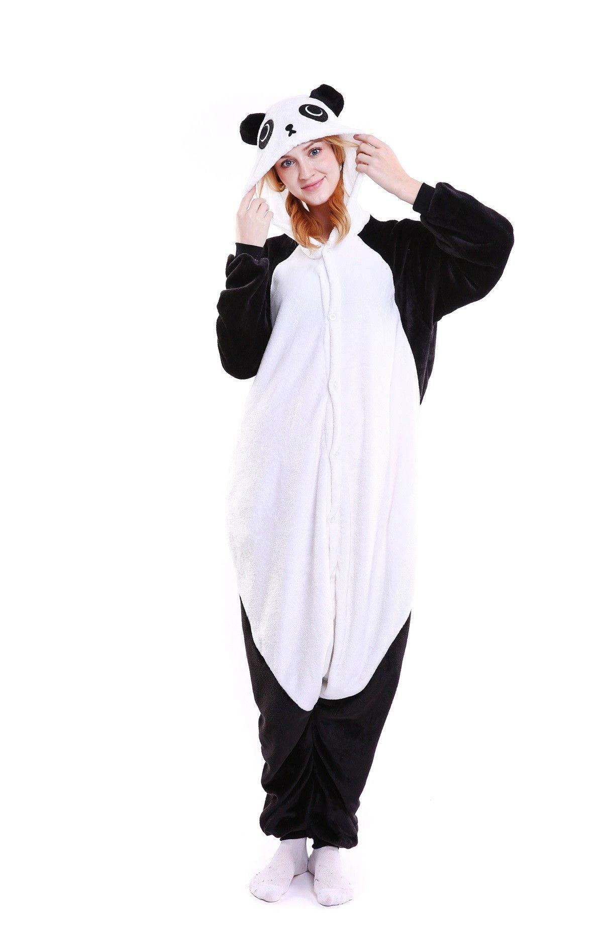 4e4e517d9e kigurumi black white Panda onesies animal pajamas for adults