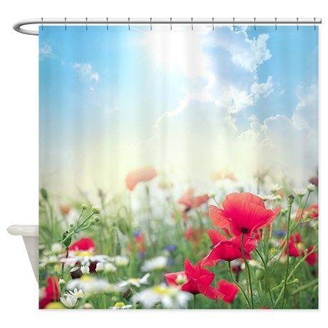 Poppy Field Shower Curtain on CafePress.com