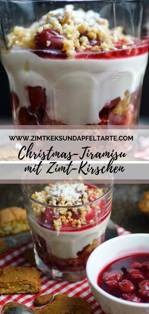 Einfaches Dessert für Weihnachten Kirsch Tiramisu mit Cantuccini #christmasdesserts