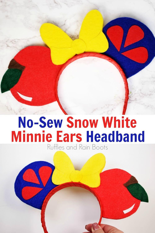 NoSew Snow White Minnie Mouse Ears Diy disney ears, Diy