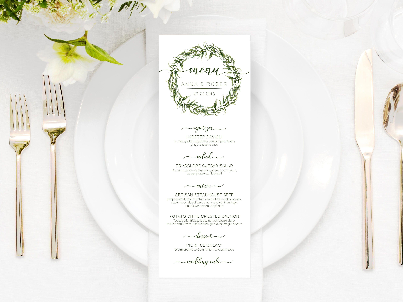 Printable Wedding Menu Eucalyptus Wedding Menu Greenery Menu