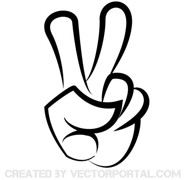 Victory Sign Vector Image Peace Sign Hand Silhouette Clip Art Clip Art