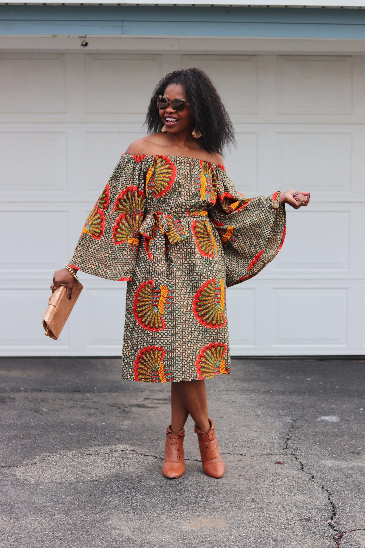 African Dresses, Ankara Dress, African Print Dress, African Fashion, African Clothing, Off the Shoulder Dress #africanprintdresses