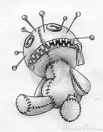 Scary Doll Drawing : scary, drawing, Voodoo-doll-pencil-sketch-hand-drawn-headache-migraine-pictured-as-lots-sharp-pins-its-head-has-zipper-49134989.…, Drawings,, Creepy, Drawing
