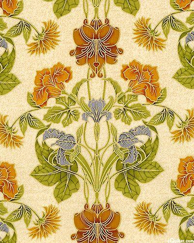 Grandeur - Art Nouveau Bouquet - Spice/Gold   花纹   Pinterest   Koi ...