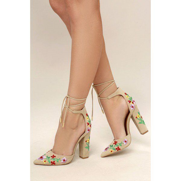Women s Style Sandal Shoes Casual Summer Outfits 2018 High Heels Pumps  Beige Pointy Toe Lace Up Strappy Sandals Floral Suede Closed Toe Block Heels  For Big ... 7434ba164552