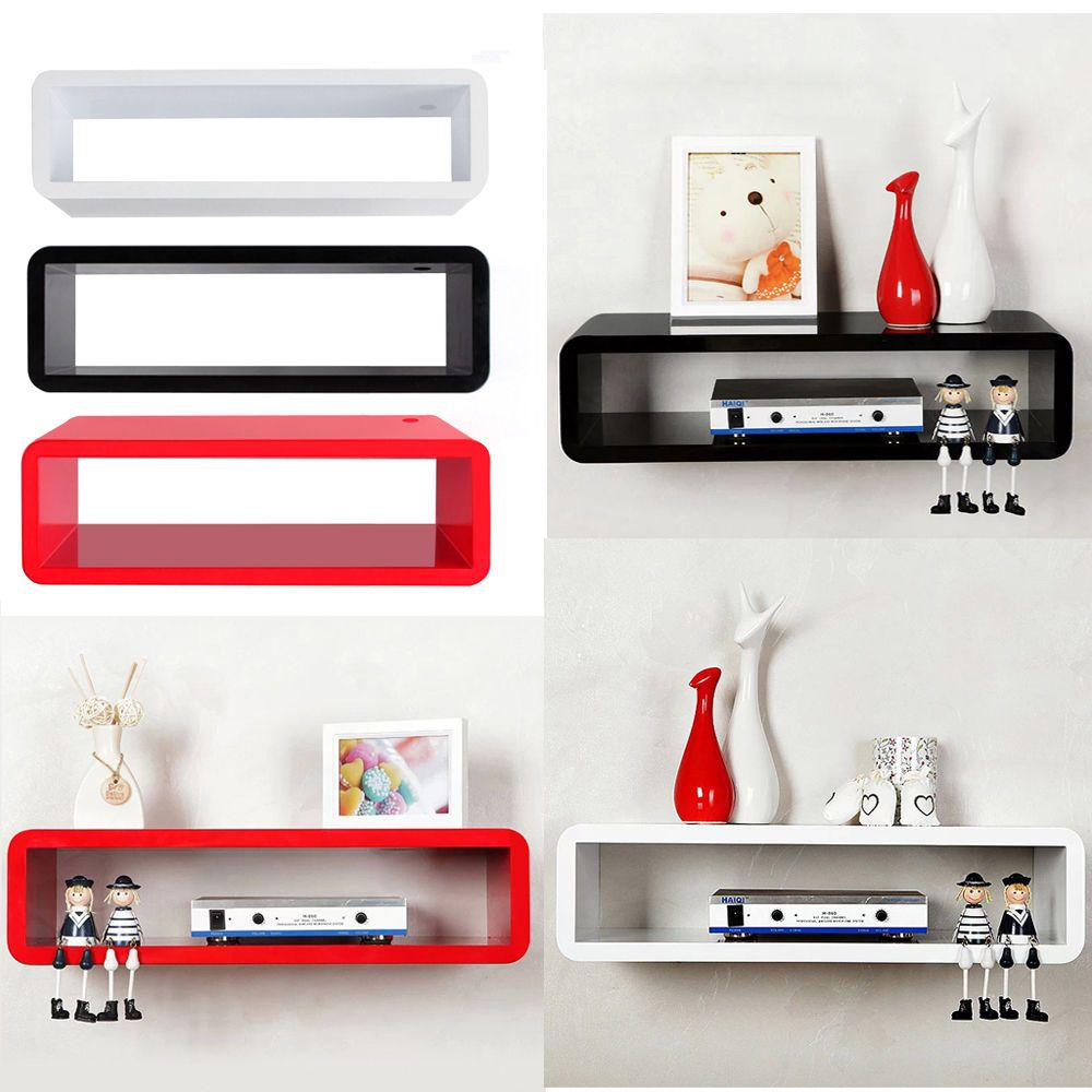 set of  retro wall square floating cube wall storage shelves  - floating mfd wall mount shelf cube sky boxdvdhifi units shelvesxxcm in