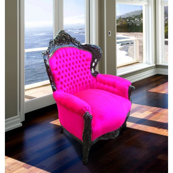 Grand Baroque style chair fuchsia pink velvet and black lacquered wood