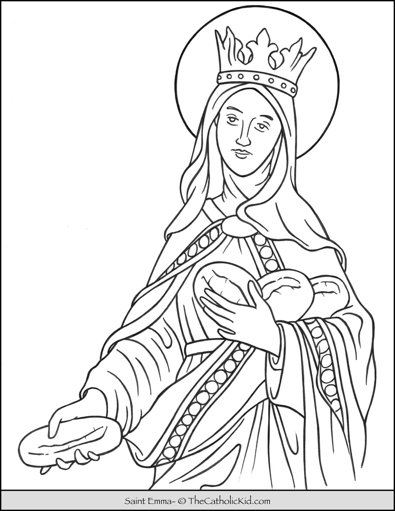 Saint Emma Coloring Page Thecatholickid Com Coloring Pages