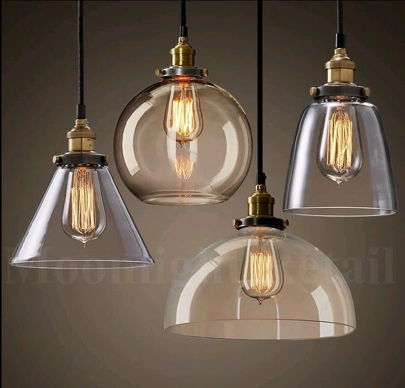 Modern Industrial Retro Loft Style Glass Ceiling Lampshade Pendant