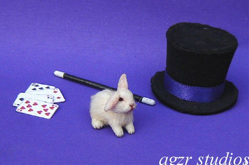 OOAK 1:12 Dollhouse Miniature  Bunny Rabbit Baby & Set Realistic Animal Handmade