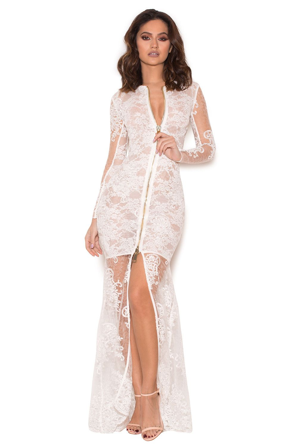 Kamali' White Sheer Lace Maxi Dress - SALE | ML Lace Dresses ...