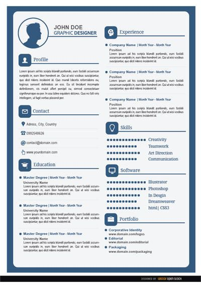 This is a simple resume, in white and blue colors, with the most - master or masters degree on resume