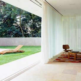 Modern Indoor Outdoor Room With Beautiful White Sheers Mid Century Modern House Outdoor Rooms