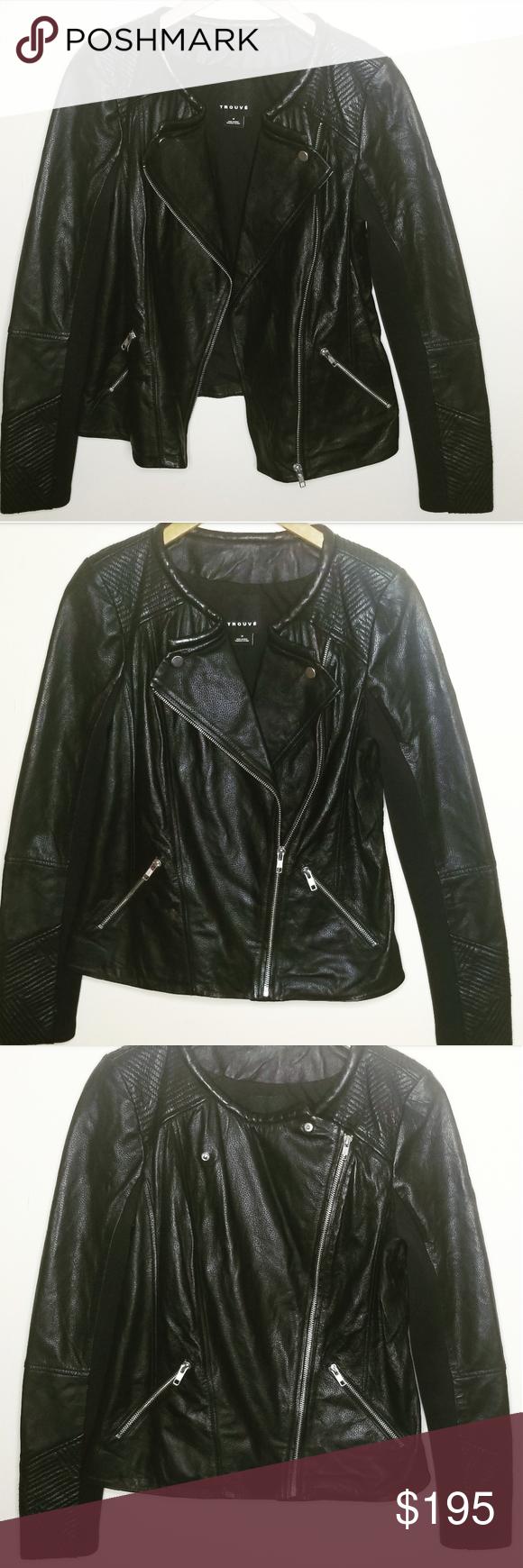 Trouve Asymmetrical Ribbed Leather Moto Jacket Leather Moto Leather Moto Jacket Moto Jacket [ 1740 x 580 Pixel ]