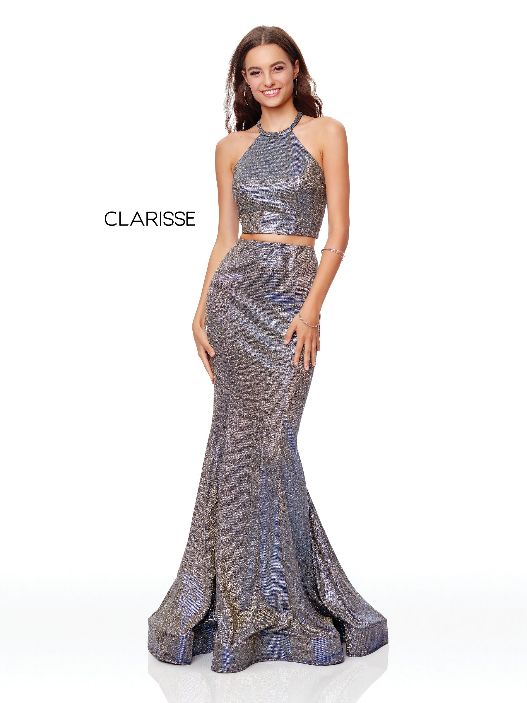 997041a9a73d9 3791 - Gold and Indigo two piece dress with a halter top and fit to flare  bottom