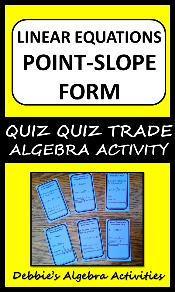 point slope form quiz  Linear Equations In Point-Slope Form Quiz Quiz Trade ...