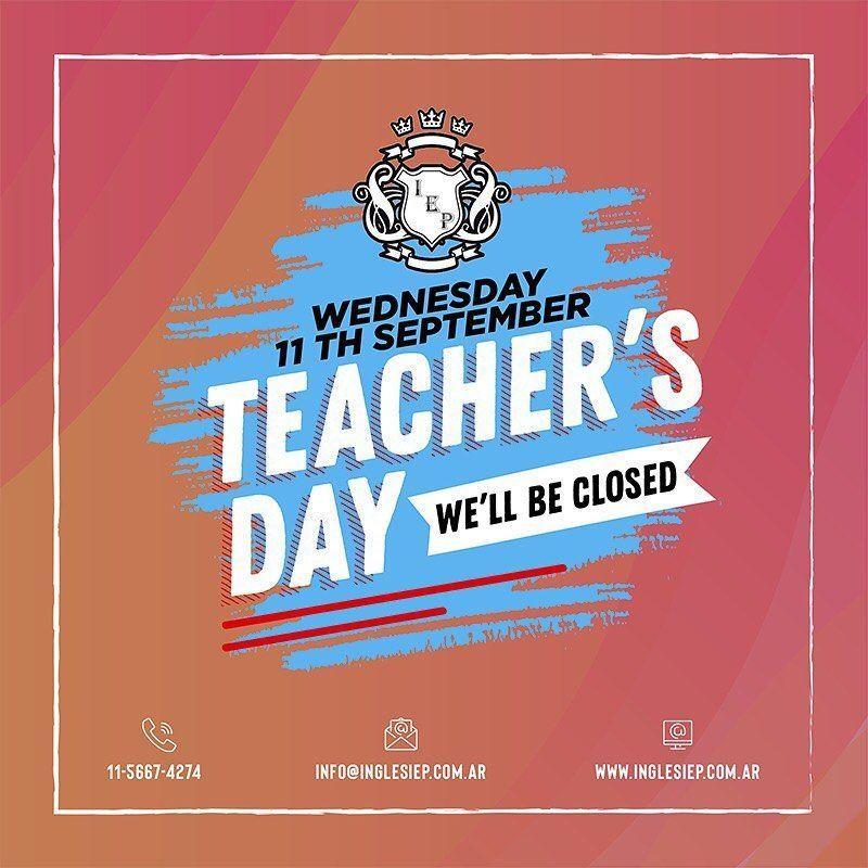 ⚠️Remember‼️. . ????Mañana➡️ Miércoles 11 de Septiembre????. . ✖️CERRADO✖️. . ????Por el día del maestro????????????. . #teacher #teachers #teachersday #happyteachersday #study #english #ingles #estudio #estudiaingles #aprendeingles #learn #studyenglish #learnenglish #student #students #maestros #maestra #alumnos #inglesiep #diadelmaestro ⚠️Remember‼️. . ????Mañana➡️ Miércoles 11 de Septiembre????. . ✖️CERRADO✖️. . ????Por el día del maestro?????? #diadelmaestro