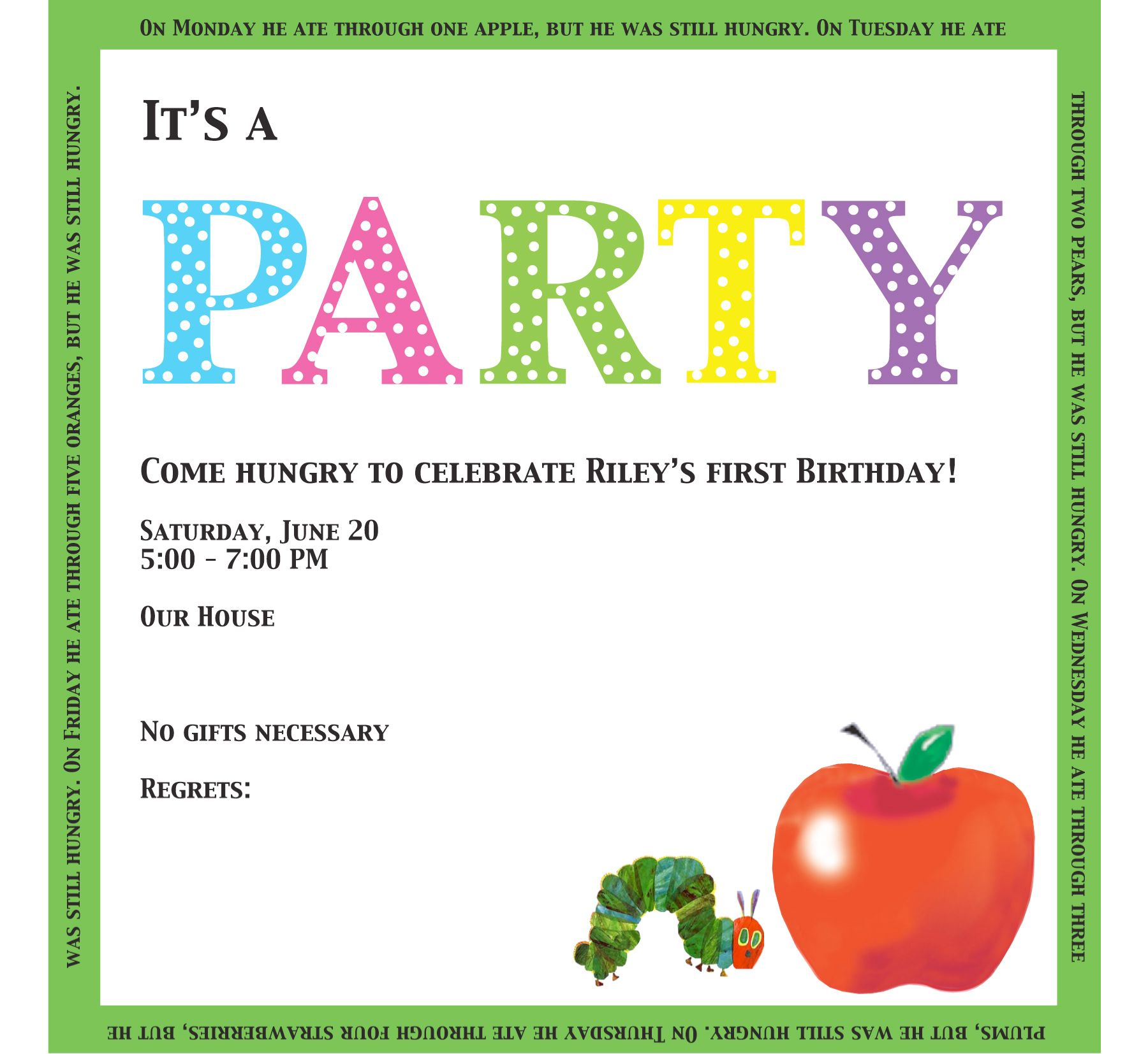 very hungry caterpillar invite words | Party: Very Hungry ...