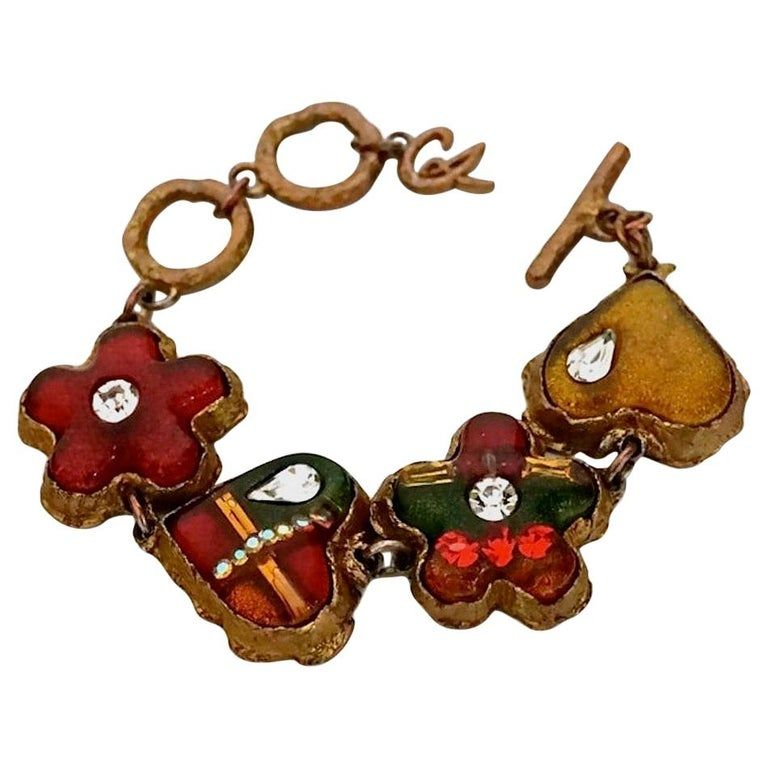 Vintage Christian Lacroix Abstract Resin Heart Flower Bracelet Vintage Christian Lacroix Christian Lacroix Flower Bracelet