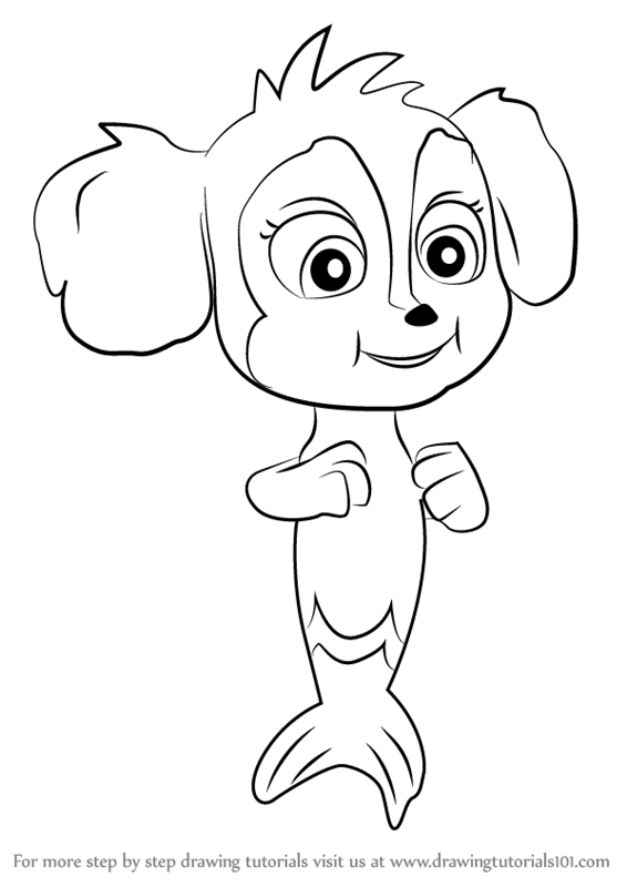 How To Draw Baby Mer Pup From Paw Patrol