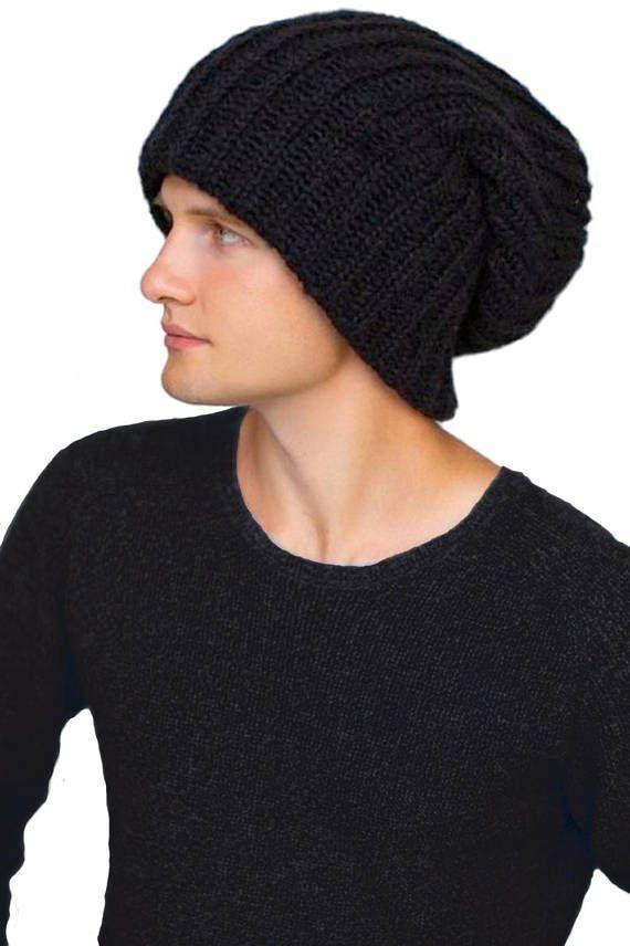 Ivory slouchy beanie Oversized hat Winter wool beanie Big head hat ... 3f61ce10e98