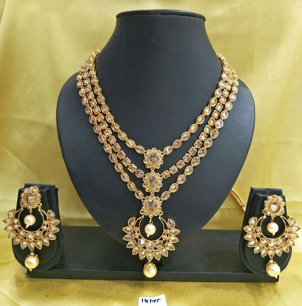 Kundan gold indian necklace jewelry set bollywood bridal wedding