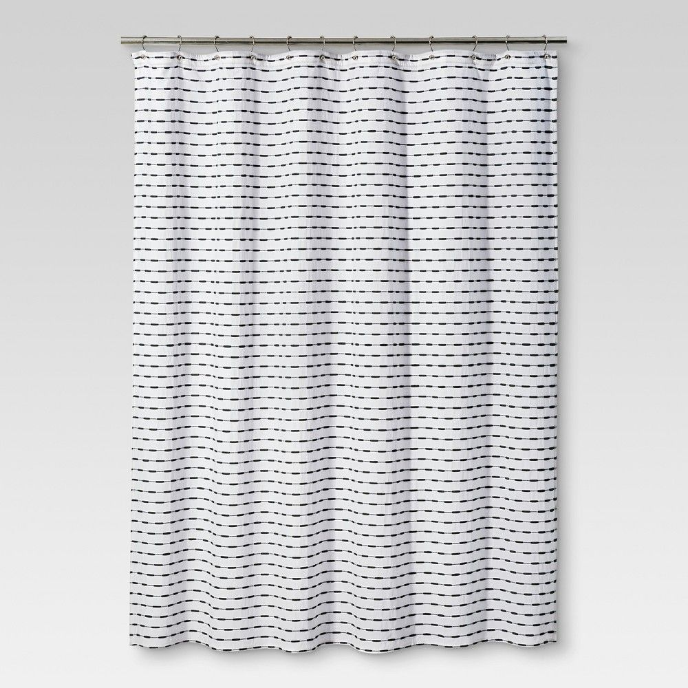 72 X72 Textured Striped Shower Curtain Black White Project 62