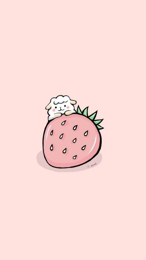 Sheep Strawberry Find More Super Cute Kawaii Iphone Android Wallpapers And Backgrounds At Pre Cute Wallpapers Wallpaper Iphone Cute Kawaii Wallpaper