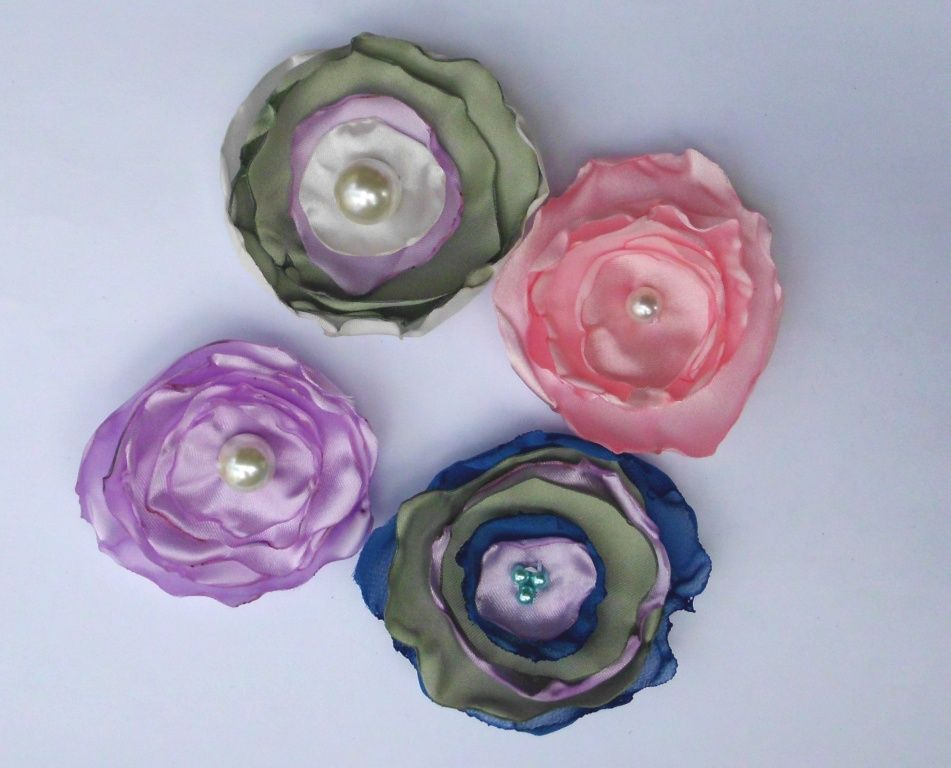 Handmade Fabric Flower 15 PCS Embellishment Hair Crafts Scrapbook Headband Lo