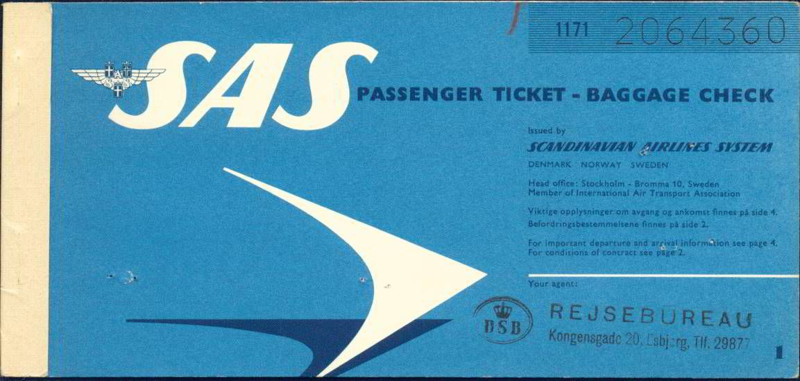 3606 Flugschein Sas Vintage Airlines Vintage Travel Checked Baggage