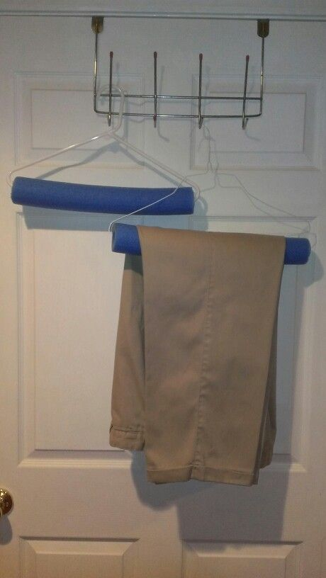 Using a pool noodle on a clothes hanger to avoid hanger creases..hope hubby will love this idea!