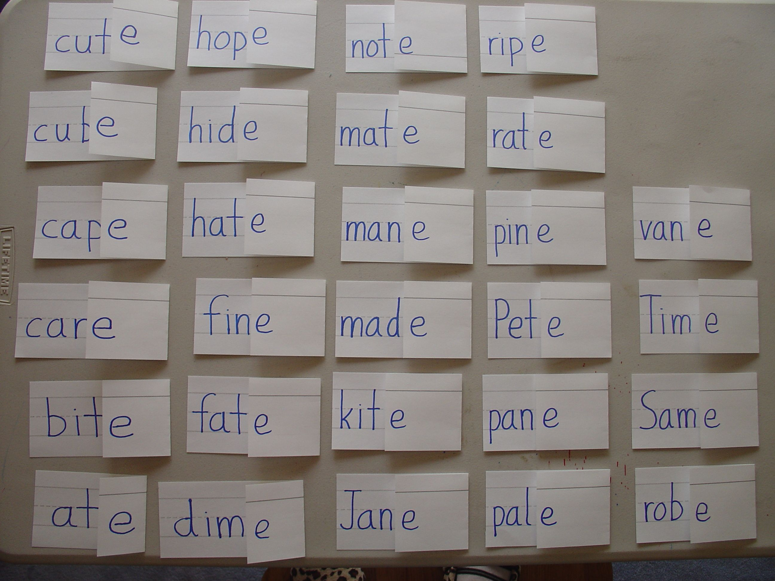 Short Vowel Long Vowel Flashcards