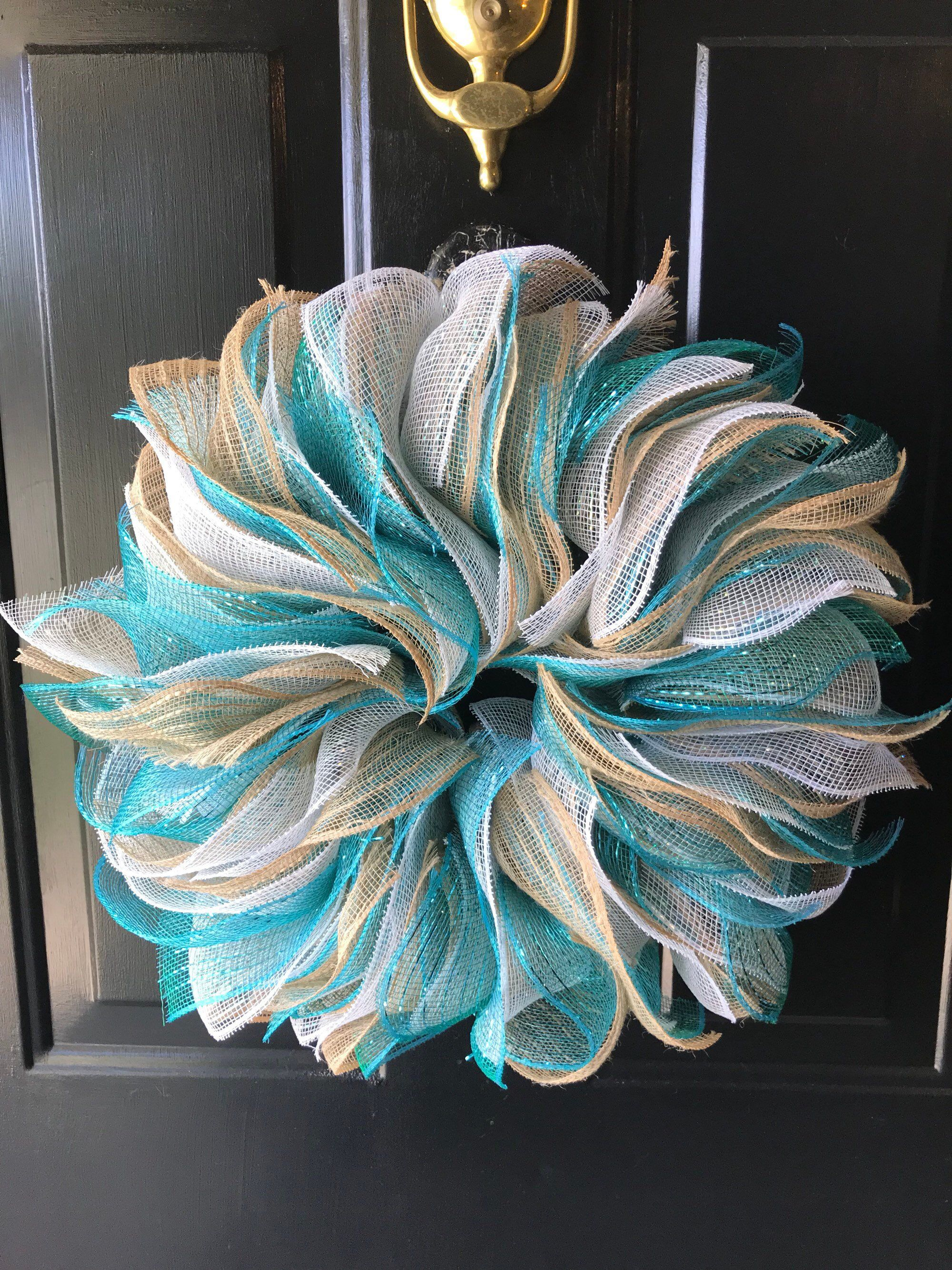 """MEDIUM MADE TO ORDER Everyday Ruffle Deco Mesh Wreath ~ PICK YOUR COLORS ~ 19"""""""