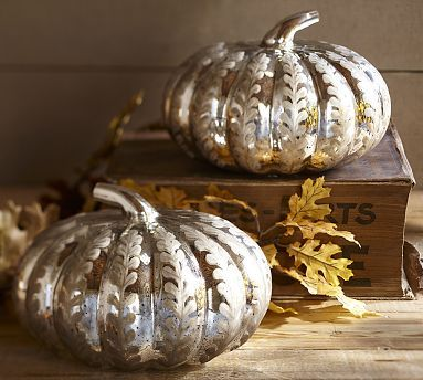 Etched Antique Mercury Glass Pumpkin From Potterybarn Glass