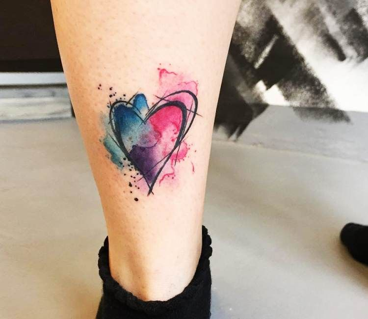 Photo of Heart watercolor tattoo by Steve Newman   Post 17566