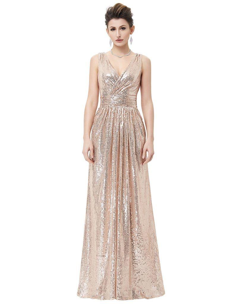 59581a67a7e4fc Kate Kasin Women Sequin Bridesmaid Dress Sleeveless Maxi Evening Prom  Dresses