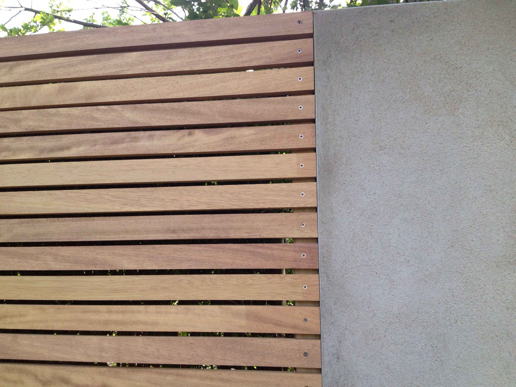 Trellis Screening Ideas Part - 47: Iroko Horizontal Trellis Detail With Rendered Wall