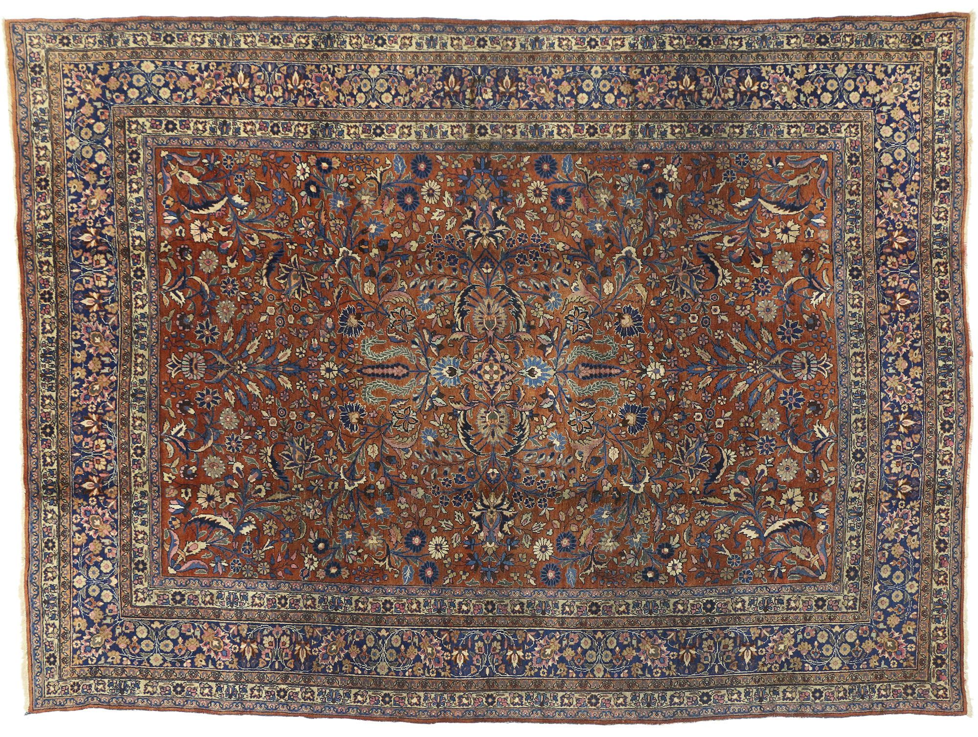 71212 Antique Persian Mashhad Rug With Traditional Style 08 10 X 12 00 From Esmaili Rugs Collection This Hand In 2020 Antique Persian Carpet Carpet Fabric Dark Carpet