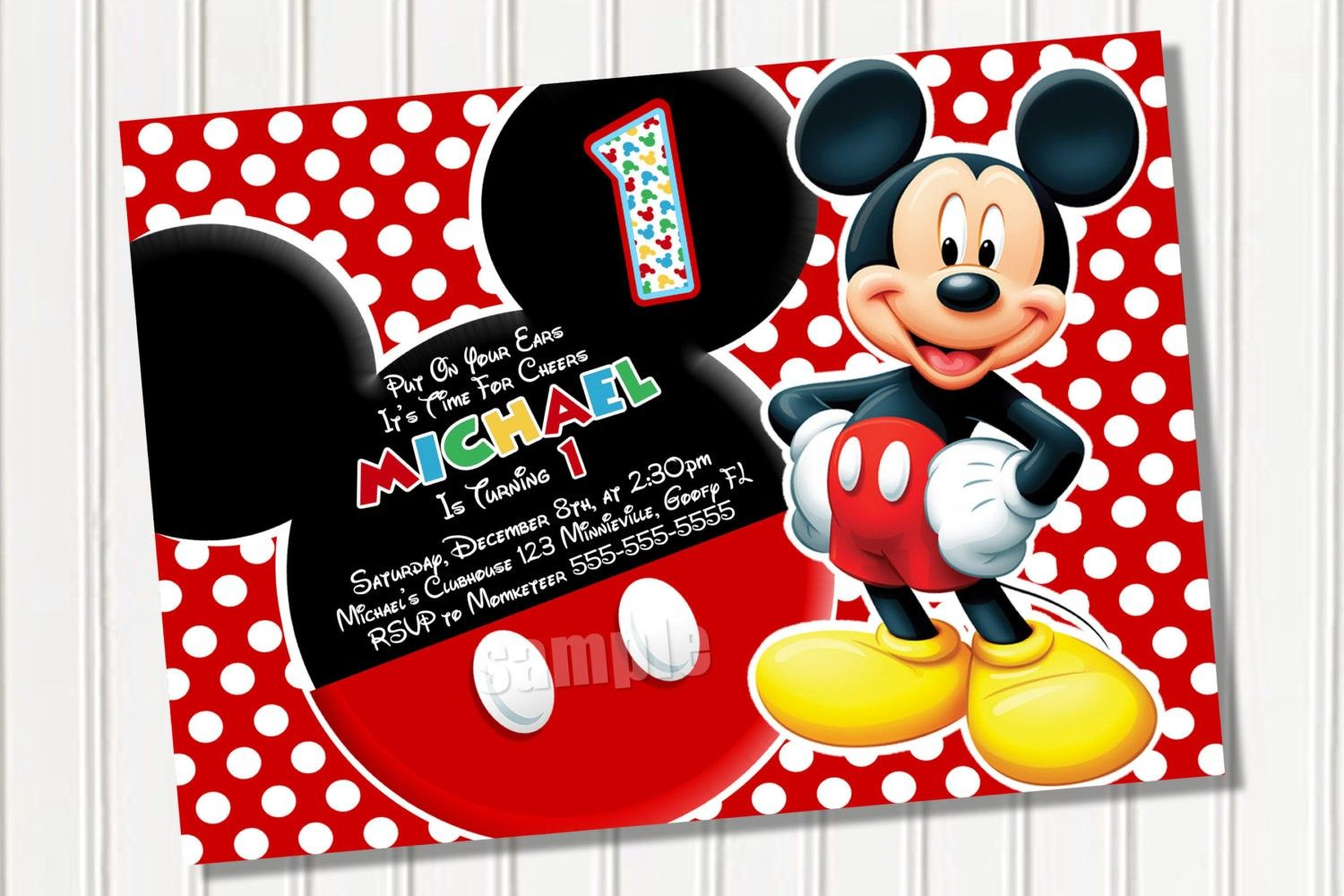 Mickey Mouse Invitation Template Awesome Mickey Mouse Party Invitation  Template With Red Polka Dot .