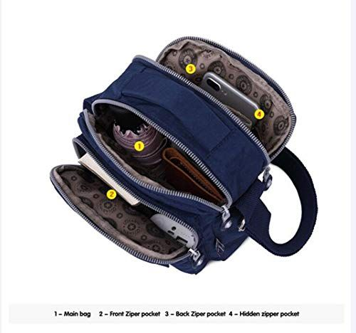 Waterproof nylon lightweight travel bags cross body shoulder bags with casual multi pocket