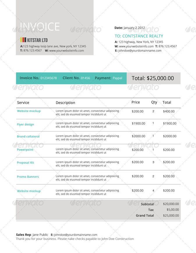 Modern Invoice Template Stationery Design Pinterest Template