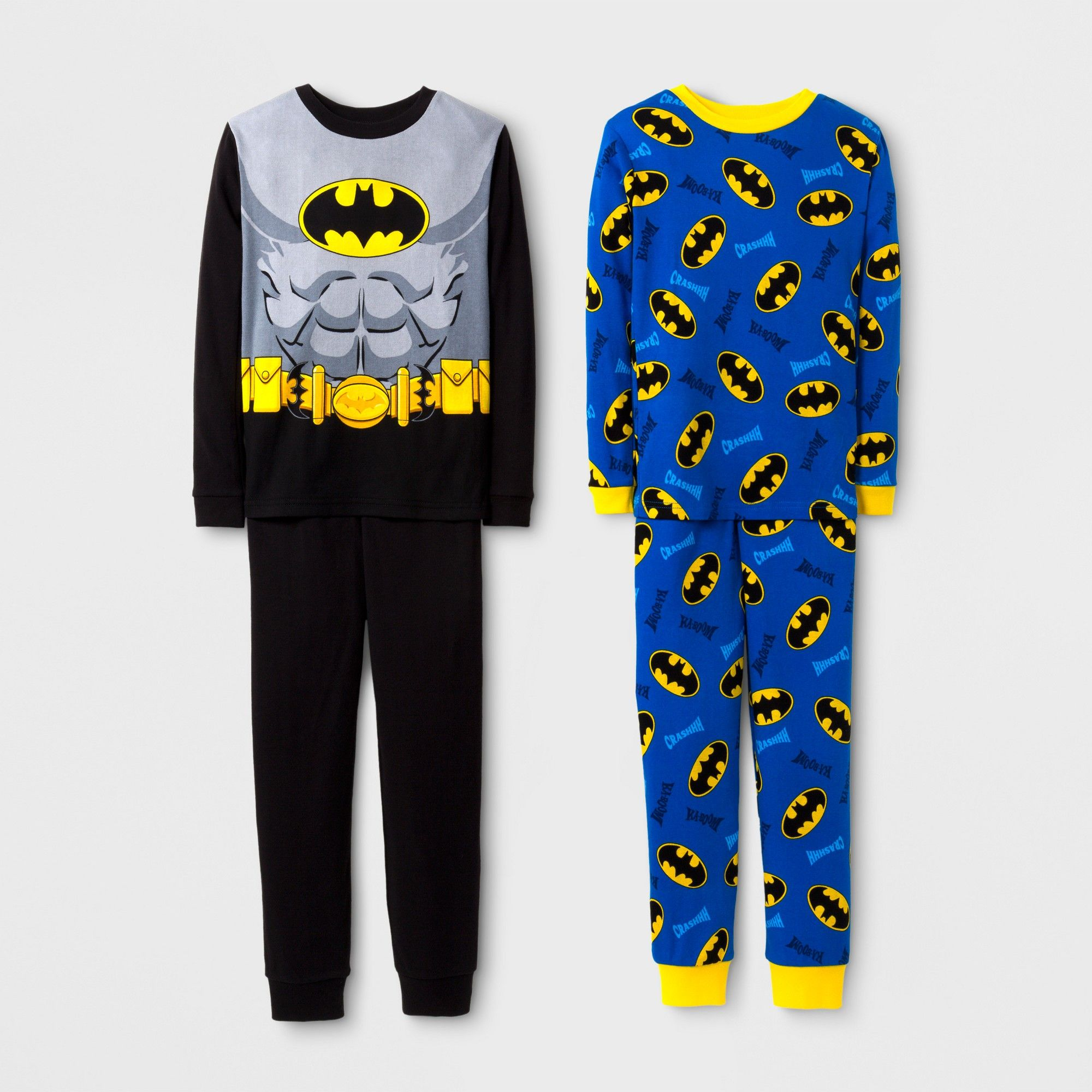 cfb563d660fb Boys  DC Comics Batman 4 Piece Cotton Pajama Set - Black 8 ...