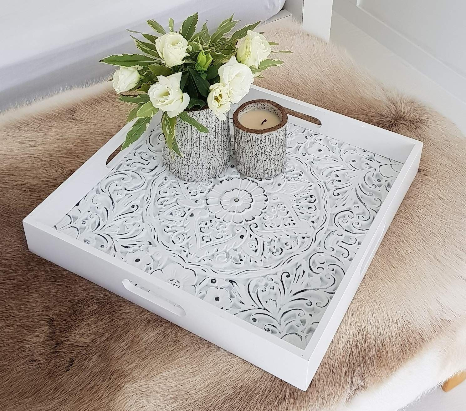 Decorative serving tray for ottomans large square with