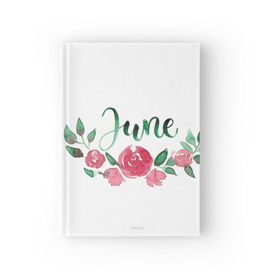 Juni Aquarell Blumen Bouquet Mit Handlettering Notizbuch Von