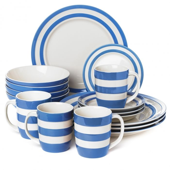 16 Piece Dinner Set Cornishware Classic British Kitchenware By T G Green An Indispensible Set Of Our Classic Tableware That S Perfect For Everyday Family