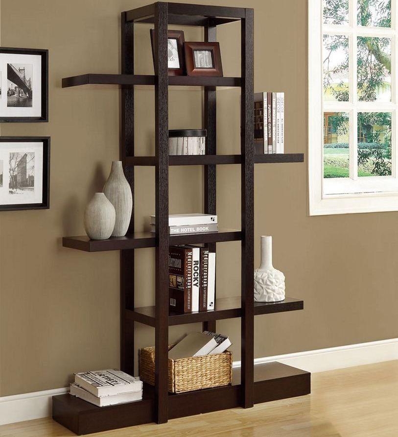Superbe Living Room Etagere   Books, Vases, And Other Decorative Items Display  Beautifully On This Modern Wooden Vagely Japanese Style Shelf.